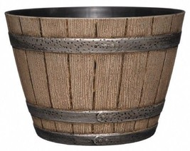 Vintage Barrel Planter Whiskey Flower Box Plants Container Garden Patio ... - $19.99