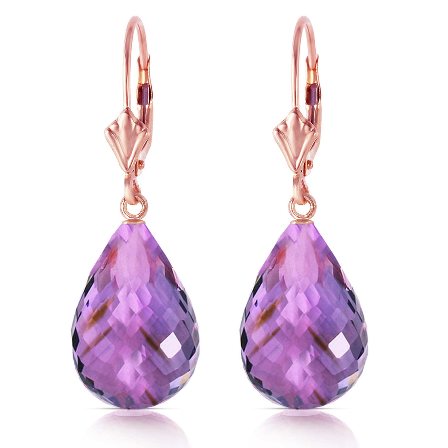 Primary image for 14 Carat 14K Solid Rose Gold Amethyst Briolette Swing Earrings
