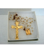 Sacred Heart Gold Plated  Crystal/Ruby Beads Rosary by Creed - $65.00