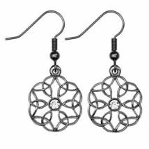Celtic Sterling Silver Trinity Knot Flower Drop Earrings - $70.38