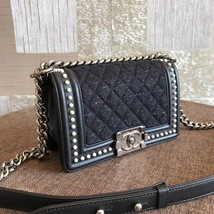 AUTHENTIC 2019 CHANEL BLACK Limited Edition Leather Small Boy Flap Bag image 4
