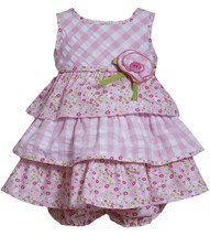 Bonnie Jean Baby Girl 3M-9M Pink White Check Floral Mix Print Tier Dress