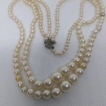 Vintage Double Strand Pearl Necklace, Box Clasp, Graduated Pearls - $25.00