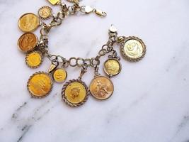 Vintage Chunky 14K Yellow Gold Charm Coin Bracelet .900 .999 .9999 ETC892 - $7,495.00