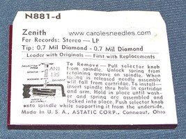 896-DD77 NEEDLE STYLUS for PYE BUTTERFLY Zenith 142-126 142-127 Zenith 142-136 image 2