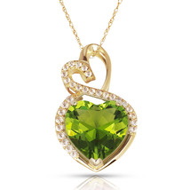 4.20CT Halo Peridot Double Heart Gemstone Pendant & Necklace14K Yellow Gold - $152.45