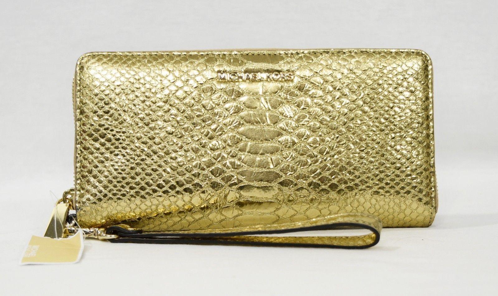 101e3d005ce05 Michael Kors Jet Set Travel Metallic Snake-Embossed-Leather Continental  Wristlet