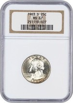 1963-D 25c NGC MS67 - Washington Quarter - $708.10