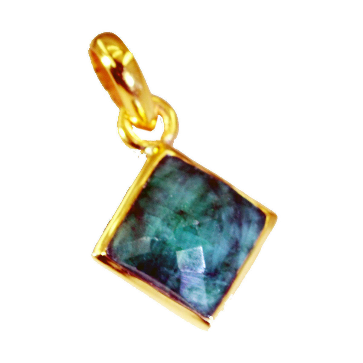 splendid Indian Emerald Gold Plated Green Pendant Glass easily US