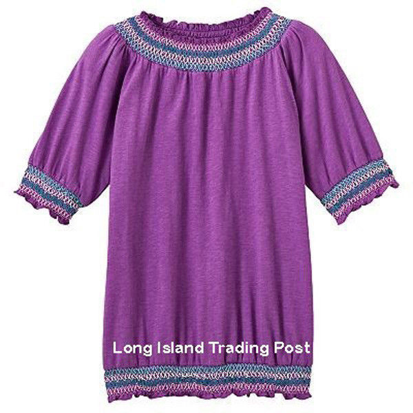 NEW Girls Plus Size Purple Peasant Top Shirt Blouse Embroidered Smocking 18 1/2 - $12.95