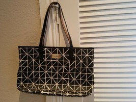 Cole Haan Black & White Printed Textured Canvas Leather Large Tote Shoul... - $79.69