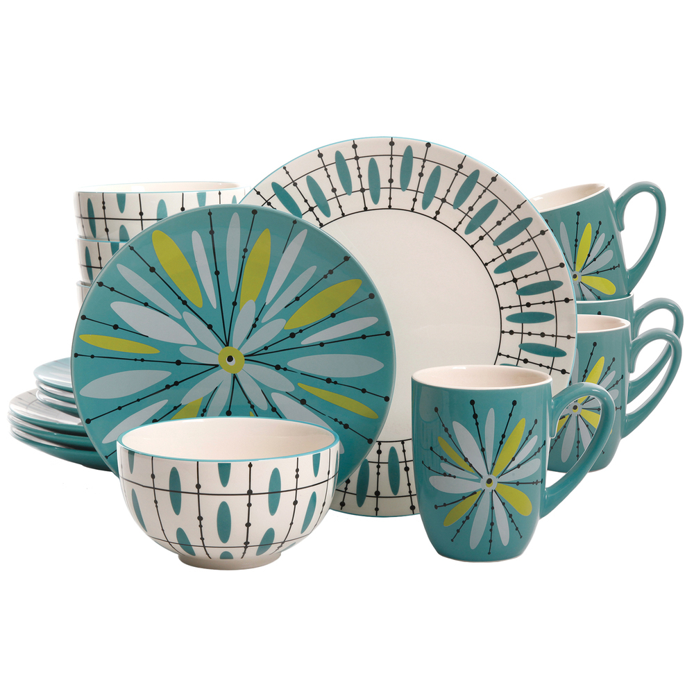 Studio California Luminescent Anza 16 Piece Round Stoneware Dinnerware Set in Te