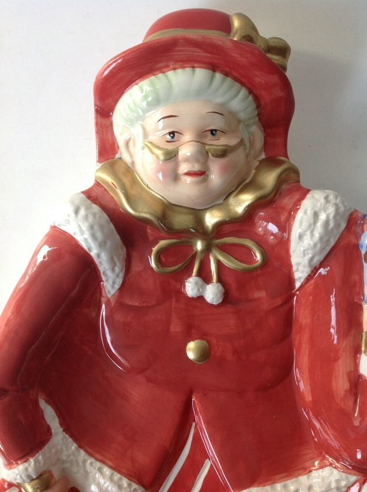 Mrs Claus Christmas Serving Tray Platter Old Lady w Parasol Elf Snowman