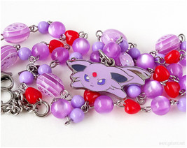 Espeon Rosary Necklace, Eeveelution Necklace, Pokemon Necklace, Pokemon ... - $37.00