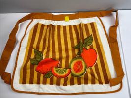 Vtg 70s Morgan-Jones Kitchen Towel Apron Made in USA Brown Fruit NOS NWT - $34.65