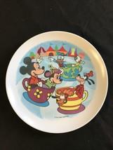 1980's  Walt Disney Plastic Plate/Dish - Mickey Minnie & others on Tea C... - $14.00