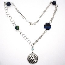 SILVER 925 NECKLACE, AGATE BLUE STRIATA, WITH LOCKET PENDANT, 21 11/16in image 2