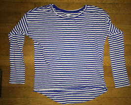 * old navy blue white striped layer long sleeve tee shirt top large 10 -... - $4.46