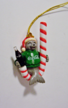 Coca Cola Ornament Seal Candy Cane Coke Bottle Mini Figure Trim A Tree - $4.99
