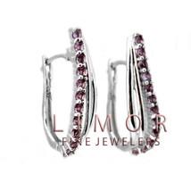 1CT T.W. Women's Elegant Round Amethyst 925 Silver Hoop Earrings 25x12mm - £27.75 GBP