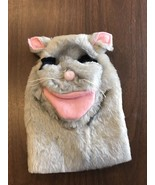 Cat Hand Puppet Grey and Pink with Black Eyes Soft and Cuddly - $6.15