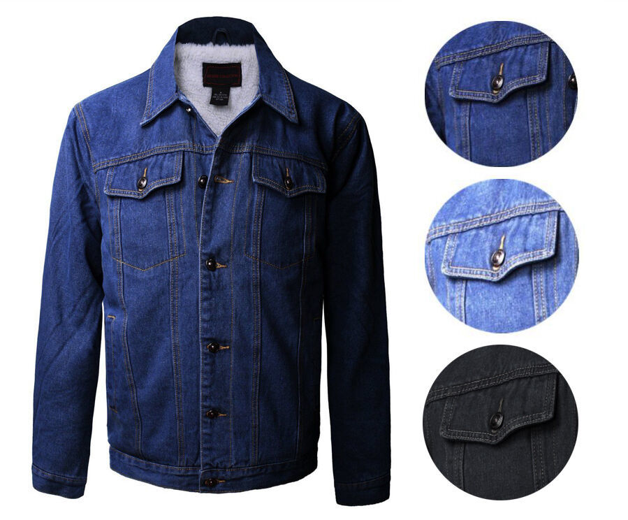 Junior Kids Boy's Premium Button Up Denim Fur Lined Trucker Sherpa Jean Jacket