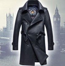Men Leather Coat Winter Long Leather Coat Genuine Real Leather Trench COAT-UK1 - $214.46
