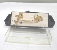 KeyChain & Cuff Links Men's Jewelry Set; Gold Plate w/Red Rhinestone; De... - $1.99