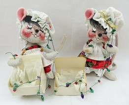 2 Vintage 1998 Annalee Dolls Mice With Christmas Lights Mouse Figure  - $38.00