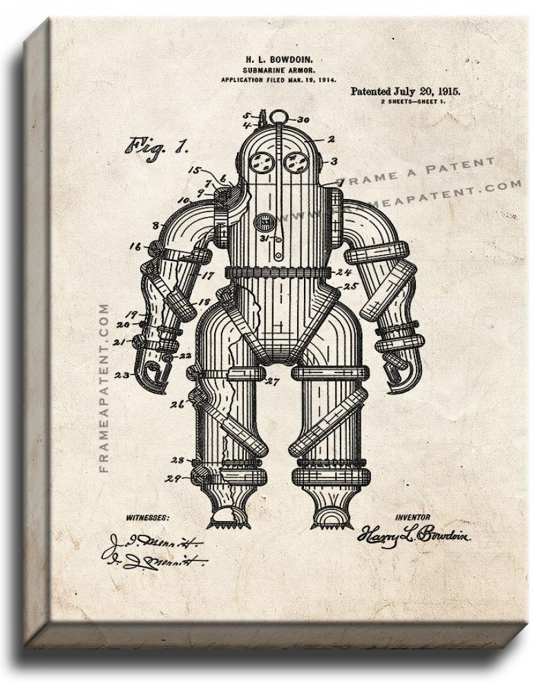Primary image for Submarine Armor Patent Print Old Look on Canvas
