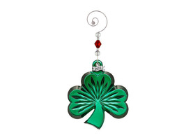 Waterford Crystal 2014 Green Shamrock ornament with Enhancer New In Box # 164589 - $71.53