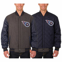 Tennessee Titans Wool & Leather Reversible Jacket with 2 Embroidered front Logos - $219.99