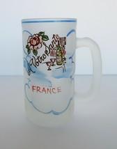 Vtg Beer Mug Frosted Glass France A Votre Sante Possibly Gay Fad Hazel Atlas - $14.99