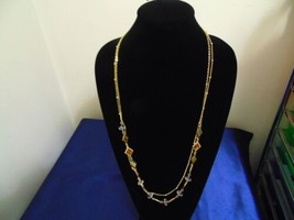 """Macys 33.5"""" w 2.5"""" ext gold tone clear bead long necklace K434 - $14.39"""