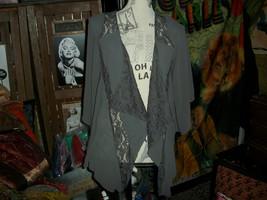 Anthropologie Lost April Sweet Gun Metal Gray Open Lace Blouse Size S - $13.86