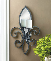 French Fleur De Lis Wall Sconce Iron w/ Mirrored Back - $55.95