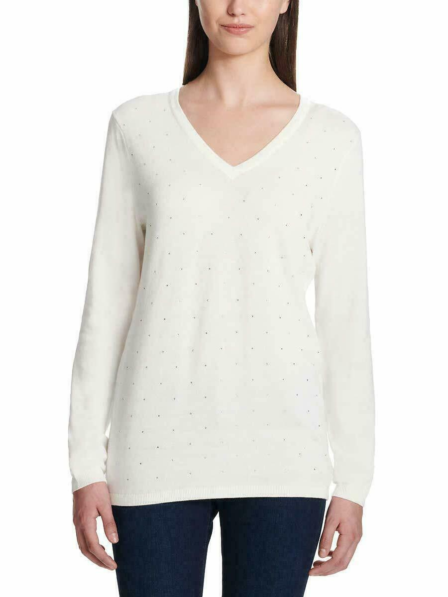 Primary image for DKNY Jeans Ladies' Rhinestone Embellished Sweater, Ivory, XL