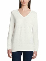 DKNY Jeans Ladies' Rhinestone Embellished Sweater, Ivory, XL - $12.86