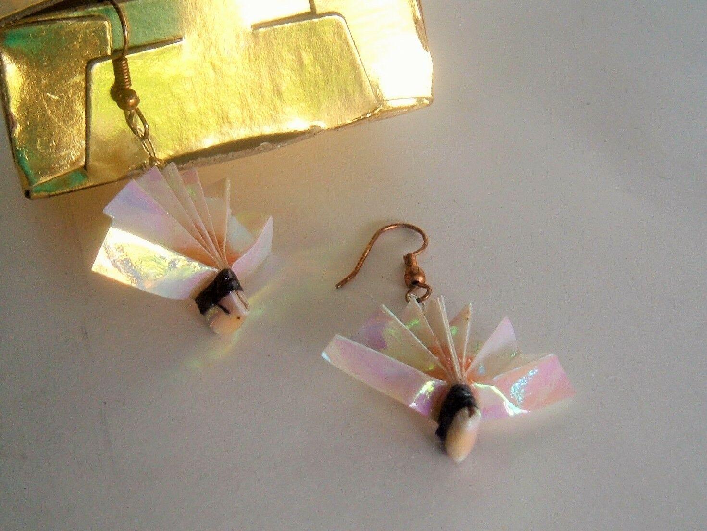 Origami Wear By Lon Pink Vintage Fans Paper dangle Earrings in original box