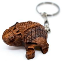 Hand Carved Ironwood Wood Folk Art Country Western 3D Horned Toad Keychain image 3