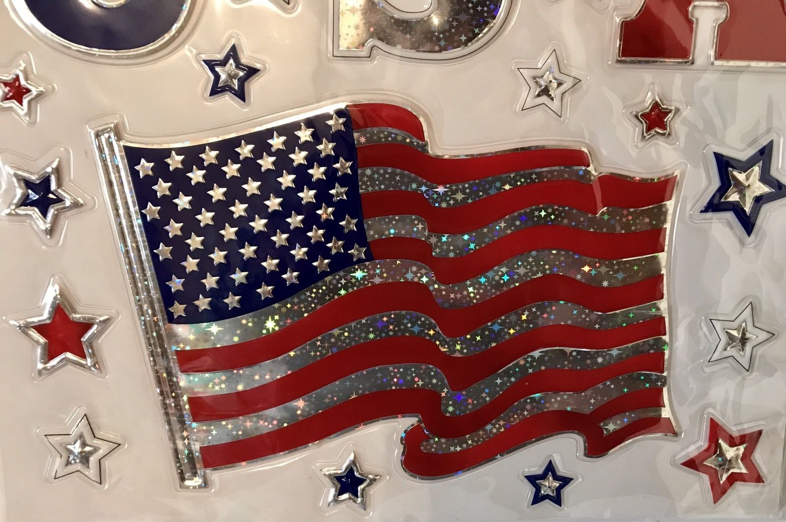 Bling Clings USA FLAG & STARS Patriotic American Glitter Window Decorations NEW