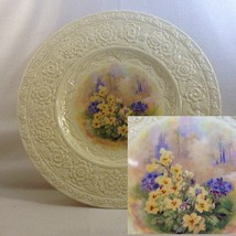 "Crown Ducal 11"" Dinner Plate Embossed Rim Center Garden Florals No Trim ... - $22.00"