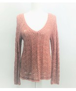 American Eagle Outfitters Open Knit Pink Long Sleeve V-Neck Sweater Medi... - $18.39