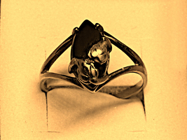 A beautiful solid gold vintage Black Hills gold and black onyx ring - $49.95