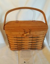 Longaberger 1991 HEARTLAND SMALL PURSE BASKET Attached Wood Lid Toggle C... - $24.00
