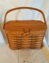 Longaberger 1991 HEARTLAND SMALL PURSE BASKET Attached Wood Lid Toggle C... - $24.00