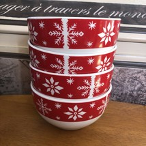 ROYAL NORFOLK Christmas Cereal Bowl Snowflakes Red and white Set Of 4 Re... - $24.75
