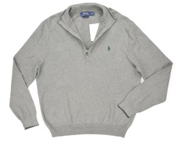 NEW POLO RALPH LAUREN GRAY TEXTURED KNIT PIMA COTTON 1/2 ZIP SWEATER SIZ... - $49.49