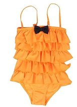 Beautiful Baby Girl Swimsuit Lovely Siamesed Swimsuit Orange 2~3Y