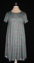 LULAROE CARLY Heathered Green Red Floral HI LO Knit Dress XXS XXSMALL 00... - $14.00